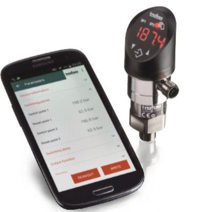 Datalogger de pressão integrado ao transmissor de pressão e pressostato eletrônico programável por smartphone